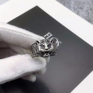 Высокое качество S925 Real Silver Ring Ring пару Последние Кольцо продукта Глава Tiger персонализированный стиль ювелирных изделий способа питания