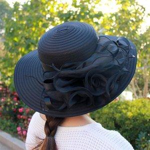 패션 여성 오간자 꽃 켄터키 더비 교회 드레스 챙이 넓은 밀짚 태양 모자 7 색