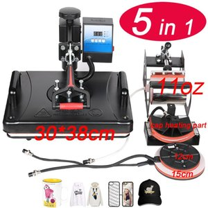 Printers 29*38CM 5 In 1 Combo Heat Press Printer Sublimation Machine For T-shirts Plates Cap Mug Phone Cover