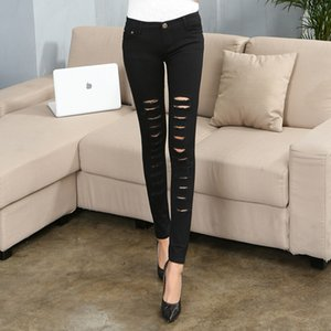 Black and White Ripped Denim Pants Women Holes Destroyed Denim Trousers Summer Ladies Skinny Stretch Ripped Jeans foe female
