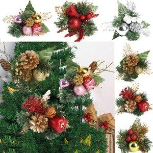 Flores do ornamento do Natal Pinheiro Artificial Hastes falsificados Pine Cone Flower Arrangements grinalda Casa Decor Inverno