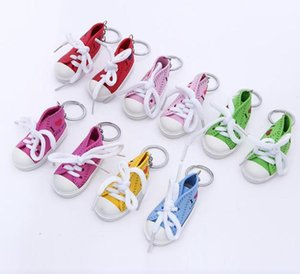 wholesale Mini Canvas Shoes Sneaker Tennis Keychain Creative Key Ring Chain Simulation Sport Shoes Funny Keyring Pendant Gift DHC734