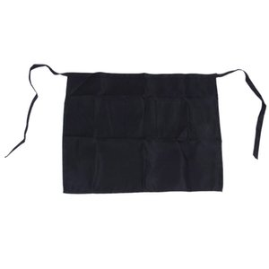 New-Black Half Apron Ladies Mens Chefs Waiter With 2 Pockets Bar Short Waist Solid