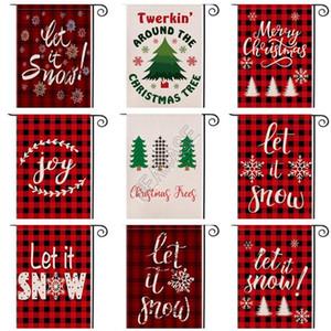 Weihnachten Banner Garden Flag Double Side Printed Red Plaid Brief Printed Festival Hof Hanging Banner Fahnen Dekoration 47 * 32cm D92507