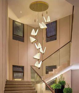 lampes suspendues tête unique papillon moderne et simple bar chambre restaurant table lumière luxe lampes pendentif cage d'escalier