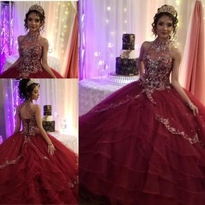 Burgundy Quinceanera Dresses Beaded Halter Luxury Crystal Corset Back Tiered Skirt Tulle Sweet 15 16 Birthday Princess Prom Ball Gown