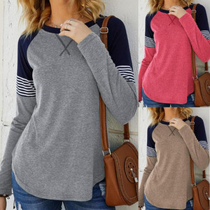 2020 women's new Round neck long sleeves contrast stripe stitching top pullover Comfortable and soft casual fashion best-selling