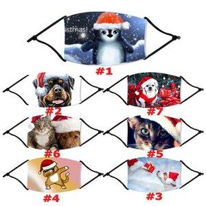 US-Aktien, Weihnachten Masken Adult Funny Animal Cat Dog Printed Weihnachten Gesichtsmasken Anti-Staub-Mund-Abdeckung Waschbar Wiederverwendbare mit Filter FY4236