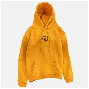 Chinese Lettering Hoodie Yellow Sweatshirt Poleron Mujer 2020 Women Chinese Letter Embroidered Hoodie Kangaroo Pocket Hoodie 2xl