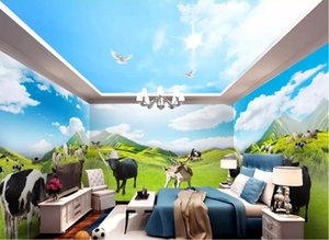 CJSIR Custom 3d Wallpaper Mural Grassland Pasture Animal World Theme Space Full House Wall Papers Home Decor Papel De Parede