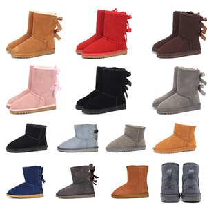 Зимние зимние сапоги высшего качества 2020, тройные серые, розовые, красные, черные, каштановые, с двумя бантами, женская обувь, размер 36-41