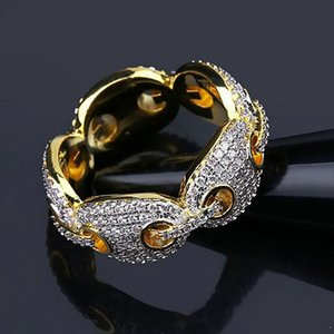 رجل 18K GOLD MARINE LINK ETERNITY BAND CZ بلينغ بلينغ RING PAVE CZ الكامل مقلد الماس خواتم الأحجار مع GIFT BOX