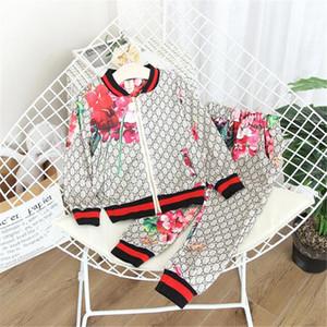 Designer di lusso dei bambini del vestito 2020 autunno-inverno del vestito della ragazza di fiori del rivestimento + pantaloni 2 insiemi dei pc scherza i vestiti casual neonata Boy Set Costume