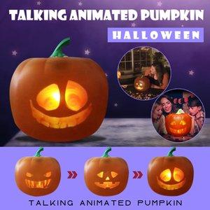 Decorazioni di Halloween Halloween animati parlanti Led zucca Flash lampada di proiezione Per la casa del partito Flash Parlare zucca Led