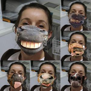 Masque Visage drôle 3D anti-poussière impression coton lavable réutilisable vélo Halloween Spoof Masques masques Designer T2I51479