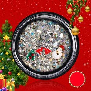 1 Kutu 3D Nail Rhinestones Nail Art Dekor Mini Boncuklar ışıldamaya DIY Noel Karışık süslemeler Flakes Çıkartması Manikür Patch Sticker