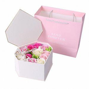 Artificial Rose Flowers Fake Flowers Wedding Birthday Heart Shaped Gift Anniversary Wedding Pink Black Box Flower 6zDa#