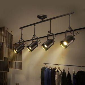 Nordic Retro Loft Трек свет RH American Industrial LED черный Потолок Урожай Пятно Подвеска Свет лампы Люстры Спальня