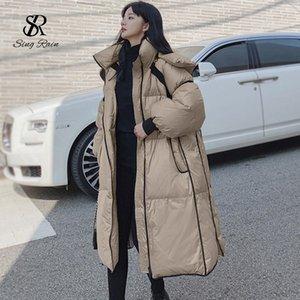 SINGRAIN inverno addensare Warm lungo piumino Donne Fashion Casual allentato soprabito coreana Oversized Streetwear Bianco anatra Outwear