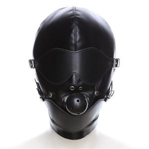 BDSM Slave Leather Bondage Headgear Hood Sensory Deprivation Restrict Hood with Eye Mask Mouth Gag Fetish Sex Tool for Men Women T200909
