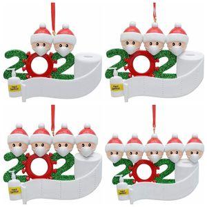 Árvore de Natal Ornamento PVC Quarentena Natal Decoração pendent presente da família personalizado do ornamento com máscara mão Sanitized GGA3682