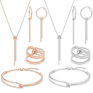 Hohe Qualität SWA klassischer Charme neu Concentric twist Armband Halskette Ring Schmuck-Set Moderne Dame Glücklich Geschenk