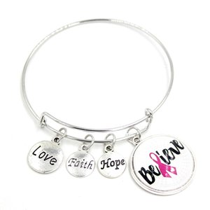 New Arrival Wire Bangle Faith Hope Believe Pink Ribbon Breast Cancer Bracelets Breast Cancer Awareness Bangle Bracelet Jewelry For women