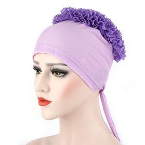 Yeni Müslüman sarık saç kaput büyük bir çiçek düz renk dantel disk çiçek şapka kafa kap baş sarma kapaklar TB-02