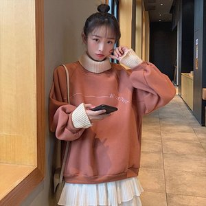 Hoodie Lady Turtleneck Thicken Warm Harajuku Embroidery Pullover Lady Fake Two Collar Casual Fashion hoodie streetwear costume