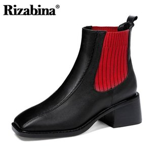 Rizabina Vera Pelle Donne Stivaletti colore misto Stretch Thick Heel Warm Boots Women Party Moda Calzature Size 33-40