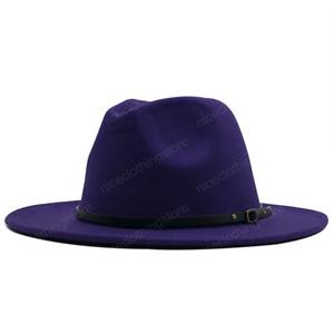 Мода Мужчины Женщины Широкий Брим Wool Felt Hat Формальные партия Джаз Trilby Fedora Hat с Пряжка Желтый Оранжевый Желтый Панама Cap