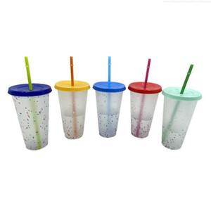 más barato !!z Color Cumple Copa Copa Plástico Beber Tumblers Con Stray Verano Reutilizable Reutilizable Copa Magic Coffee Beer Tazas