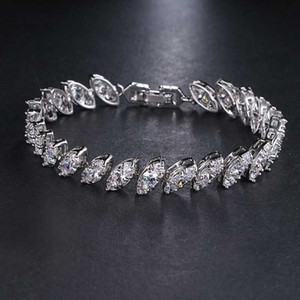 Charm Bracelets Style Bracelet Clear Marquise Cubic Zircon Bangle White Gold Color Suitable For Women Wholesale Jewelry Party B-035