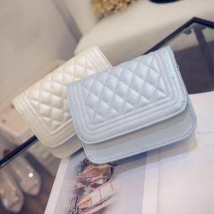 Free Shipping Fashion new handbags High quality PU leather Women bag Korea Simple Lozenge Sweet girl shoulder Female bag