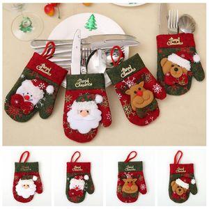 Navidad cubiertos Tenedor Cuchara Vajilla Bolsas Guantes de la cubierta del sostenedor de Navidad comedor Vajilla Decoración de Navidad Decoración bolsa de transporte marítimo de HHD1614