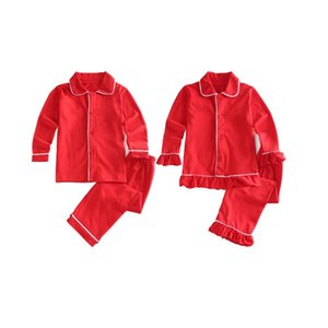 boutique solid color 2020 long sleeve pyjamas two pieces sleepwear sets fall winter kids girls boys pajamas Christmas