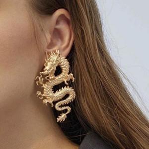 Im chinesischen Stil Personality Exaggeration Metalldrachen-Bolzen-Ohrringe Modeschmuck Punk Gothic Goldfarbe Schlange Ohrringe Geschenk