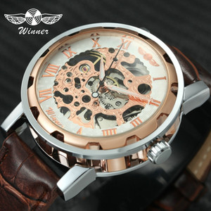 2019 Winner Fashion Unisex Women Men Mechanical Watch Leather Watchband Stainless Steel Case Skeleton Dial Wristwatch for Ladies
