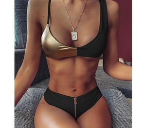 2020 Sexy Bright Leather Contrast Color Bikini Swimwear Women Swimsuit Push Up Bikini Set Zipper Bathing Suits Summer Beach55