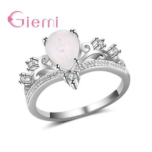 Luxury Crown Princess 925 Sterling Silver Finger Rings for Women Trendy Whater Drop Fire Opal Bague Female Engagement Anel