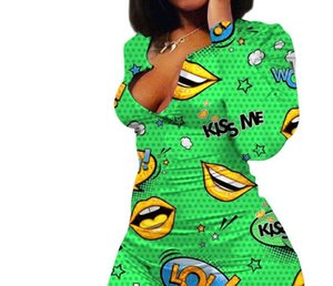 Feminino Roupas Dropshipping Womens Designer magro Macacões Sexy manga comprida Lip Imprimir Mulher Playsuit macacãozinho Fashion77