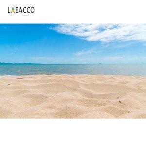 Laeacco Tropical Summer Beach Mar de Areia céu nebuloso Criança Fotografia Scenic Fundos cenários fotográficos para Photo Studio