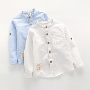 Children Boys Shirts Cotton Long Sleeves Turn-down Collar kids Shirts For 3-10 Years Old Kids Wear Clothes