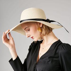2020 new female straw hat summer big wide brim beach haoutdoor beach hat Korean version of the wild sun Foldable anti-UV