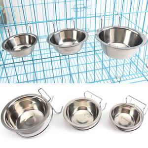 Edelstahl Hängen Schüsseln Pet Cage Einzel Bowl Zwinger Coop Stationary Nahrungsmittelwasser-Cup-Welpen Futternapf Vogel Katze Hund Feeder