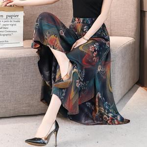Sommer Frauen mittleren Alters Hosen mit hoher Taille Große nationale Art Frauen-Hose mit weitem Bein Dame Cotton Seide gedruckte Rock
