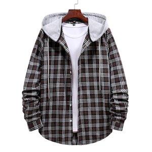 Mens Designer Hooded Collar Casual Shirts Plaid Print Slim Fit Single Breasted Shirts 2021 New Spring Autumn Treillis Sweatshirt Chemise