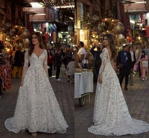Long Sleeve Princess Wedding Dresses 2021 Luxury Lace Applique Backless V-neck Outdoor Bridal Reception Dancing Dress Robes