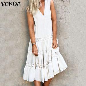VONDA été femme Vintage mi-mollet Robe sans manches 2020 sexy robe à volants creux Plus Size Vestidos Bohemian solide Sundress