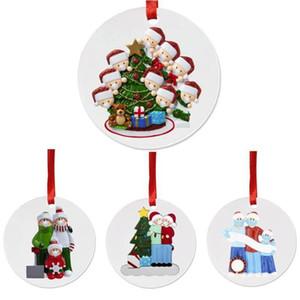 Saludos de Navidad ornamento de DIY cuarentena fiesta de cumpleaños de Navidad pandemia Distanciamiento social árbol de Navidad Accesorios Redondos